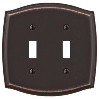Vineyard 2 Gang Toggle Steel Wall Plate - Aged Bronze