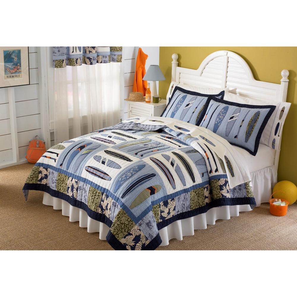 Catch a Wave Twin Quilt with Pillow Sham