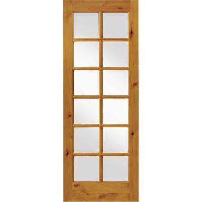 36 in. x 96 in. Krosswood French Knotty Alder 12-Lite Tempered Glass Solid Right-Hand Wood Single Prehung Interior Door