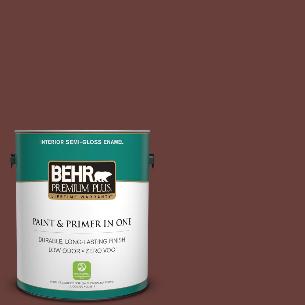 BEHR Premium Plus 1-gal. #190F-7 Mayan Red Zero VOC Semi-Gloss Enamel Interior Paint