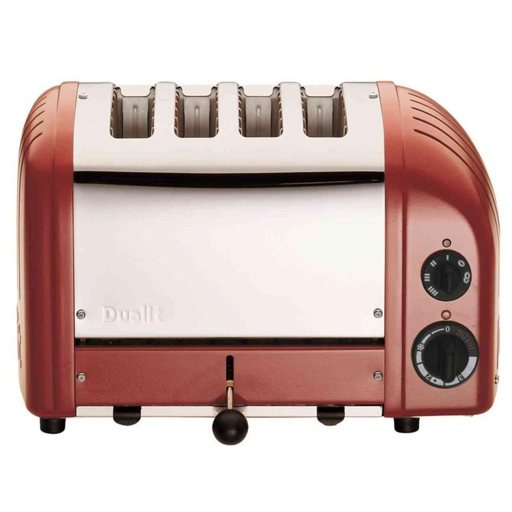 Dualit New Gen 4-Slice Red Wide Slot Toaster with Crumb Tray