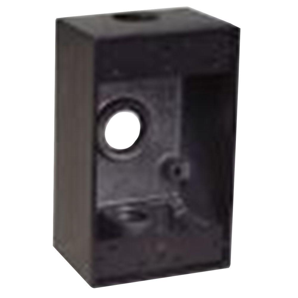 1-Gang Rectangular Weatherproof Box with 3 1/2 in. Holes -Bronze (Case