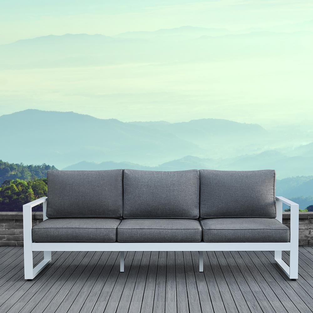 Real Flame Baltic White Aluminum Outdoor Sofa With Gray Cushions