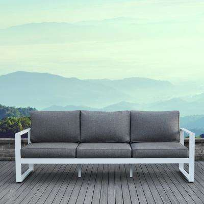Baltic White Aluminum Outdoor Sofa With Gray Cushions