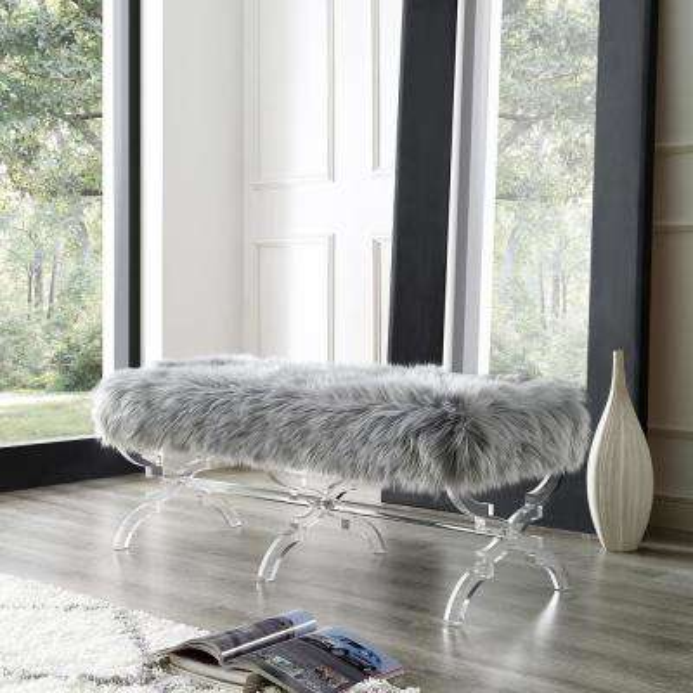 Reida Acrylic X-Leg Grey Faux Fur Bench