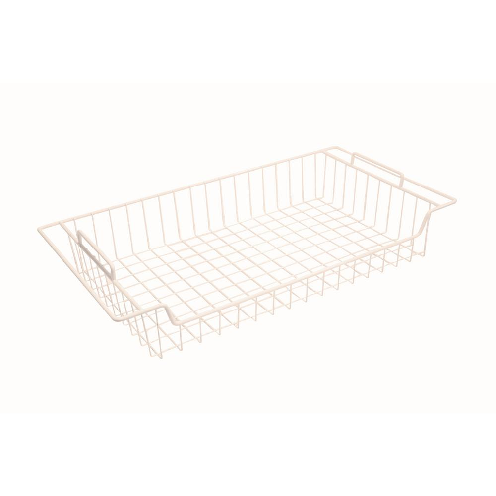 Wire Closet Drawers The Home Depot Wiring Design 27 In White Steel Flat Sliding Basket For Shelving