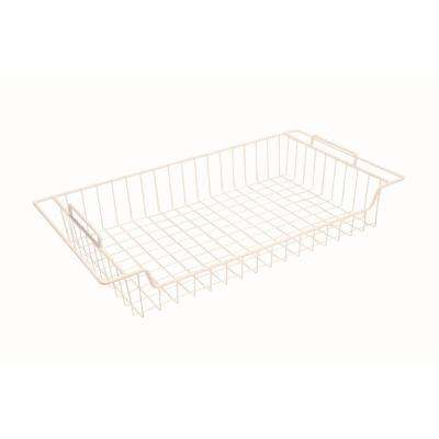 27 in. White Steel Flat Sliding Basket for Wire Shelving