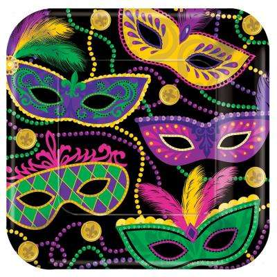 Mardi Gras Masks 10 in. x 10 in. Paper Mardi Gras Square Plates (5-Pack, 8-Count)