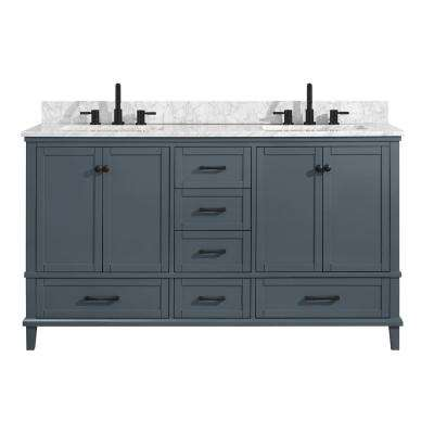 Merryfield 61 in. W x 22 in. D Bath Vanity in Dark Blue-Gray with Marble Vanity Top in Carrara White with White Basin
