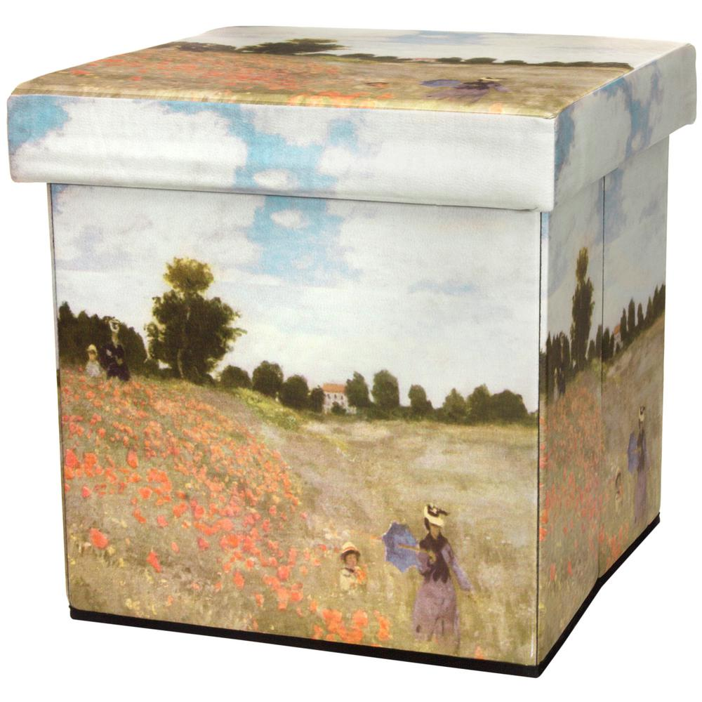 Stylish Storage Ottoman Poppy Field Design Canvas Any Room