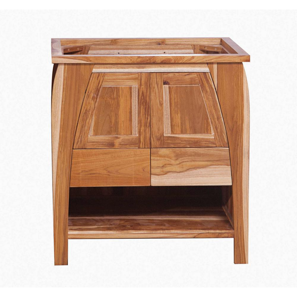 EcoDecors Tranquility 30 in. L Teak Vanity Cabinet Only in Natural Teak
