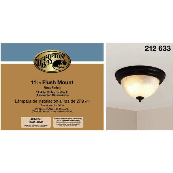 Hampton Bay 2-Light Copper Patina Ceiling Living Room Flush Mount