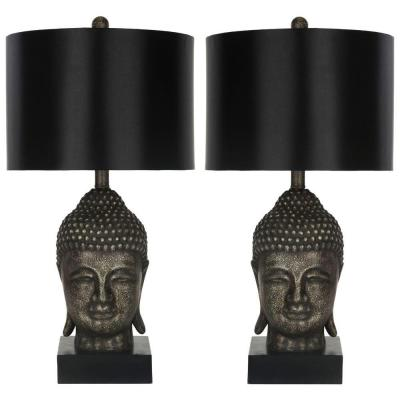 Buddha 24.5 in. Antique Gold Table Lamp with Satin Black Shade (Set of 2)