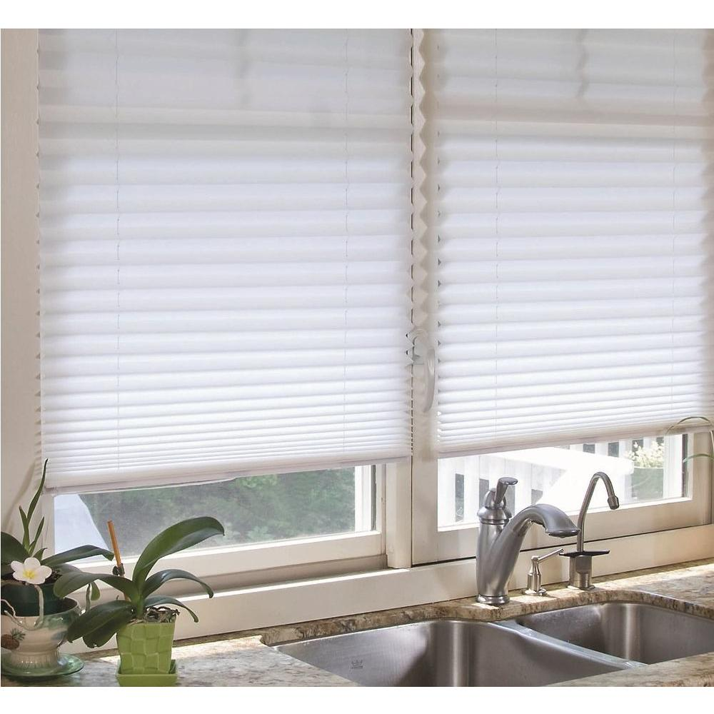Redi Shade White Fabric Corded Light Filtering Pleated Shade - 48 in. W x 72 in. L