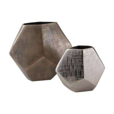 Faceted Cube Aluminum Decorative Vases (Set of 2)