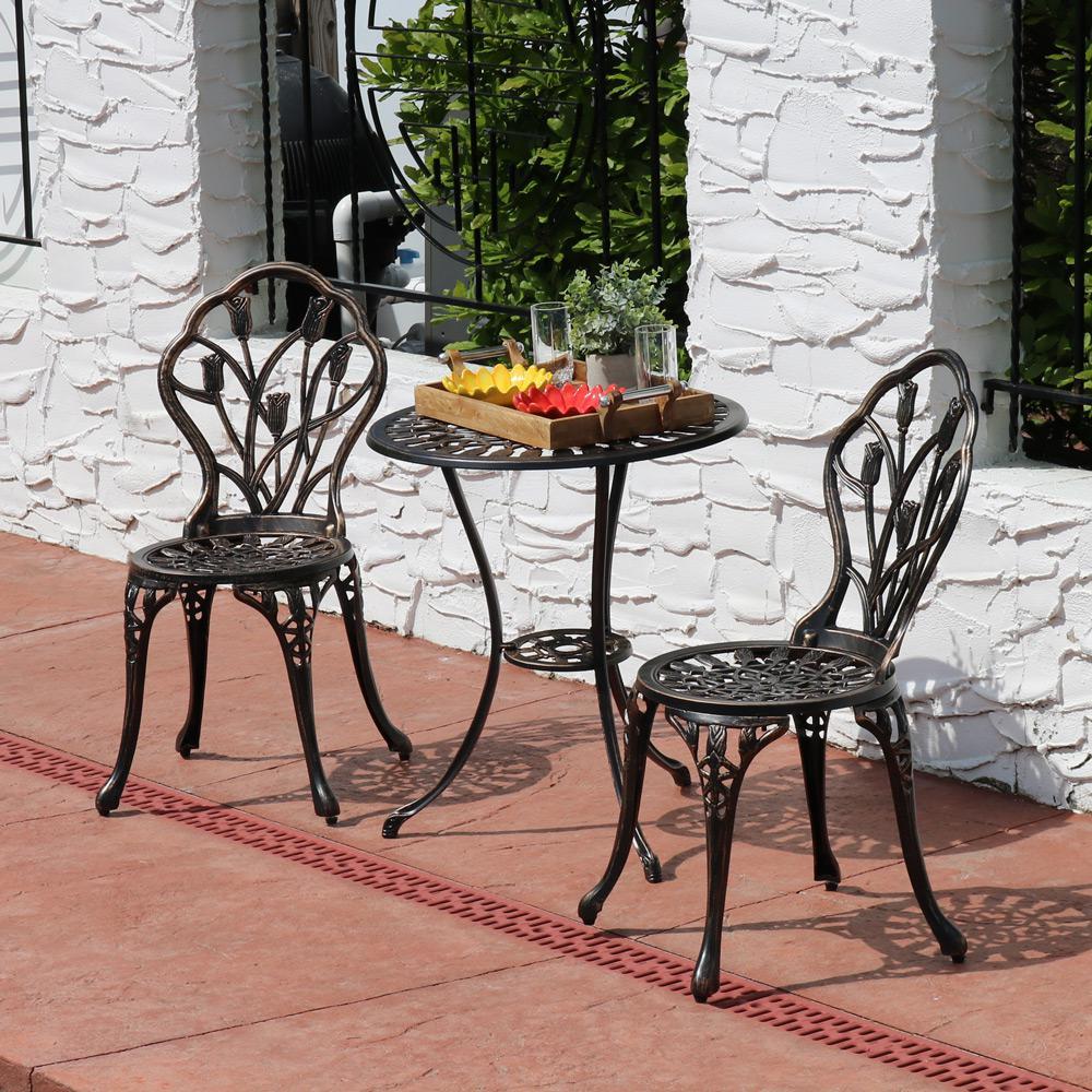 3-Piece Cast Aluminum Outdoor Bistro Set with Copper Patina