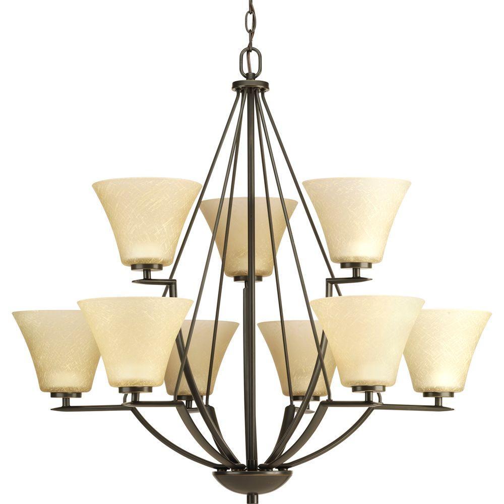 Progress Lighting Bravo Collection 9 Light Antique Bronze Chandelier With Umber Linen Glass