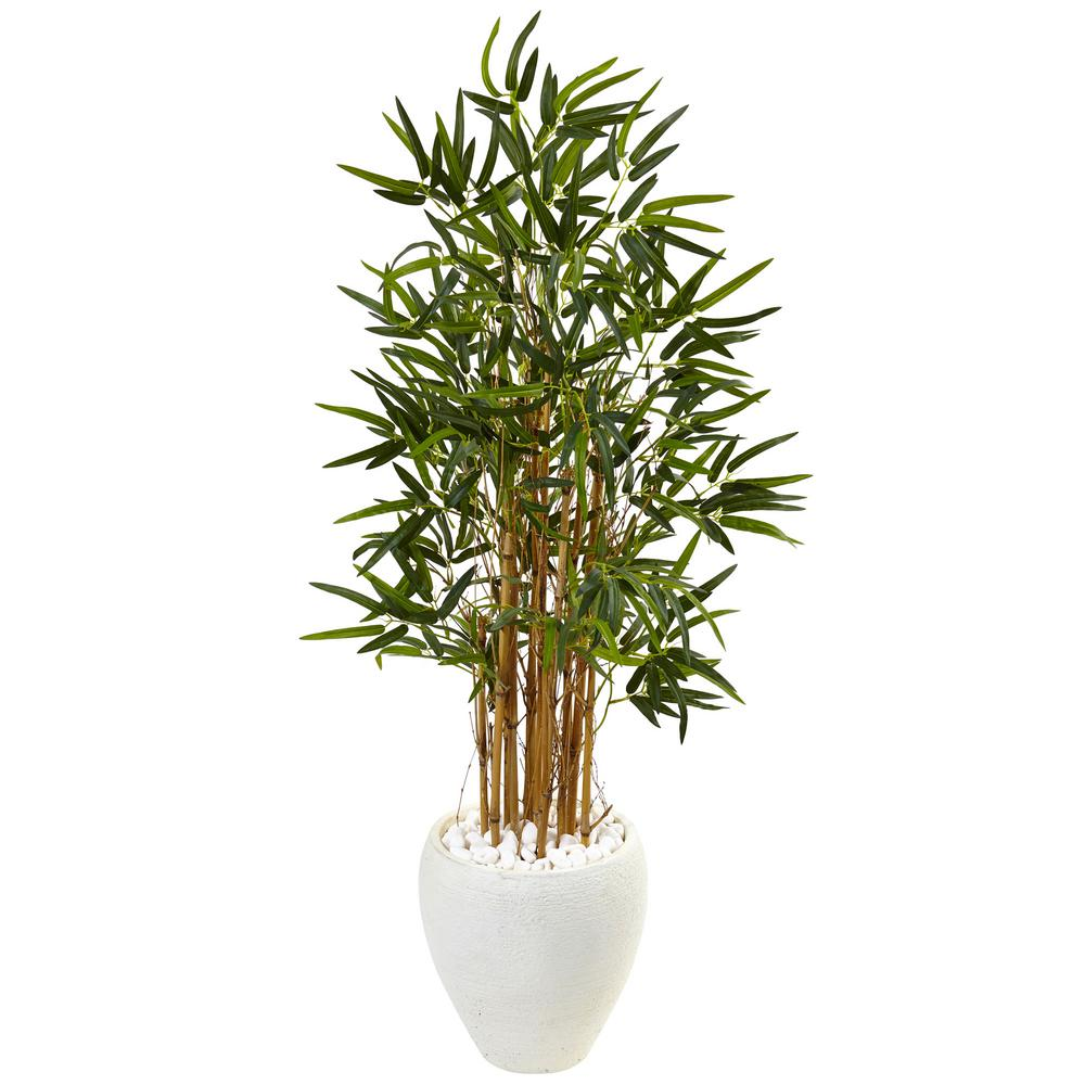 Indoor Bamboo Artificial Tree in White Oval Planter