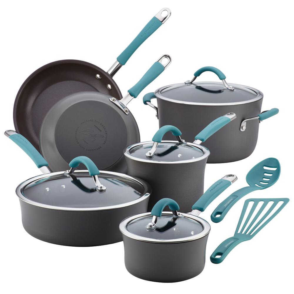 RachaelRay Rachael Ray Cucina 12-Piece Gray and Blue Cookware Set with Lids, Agave Blue and Gray