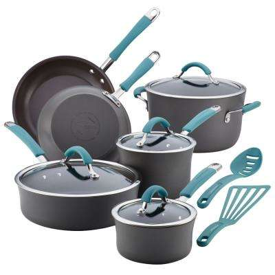 Cucina 12-Piece Gray and Blue Cookware Set with Lids