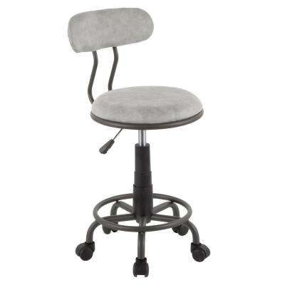 Swift Grey Metal and Light Grey Faux Leather Task Chair