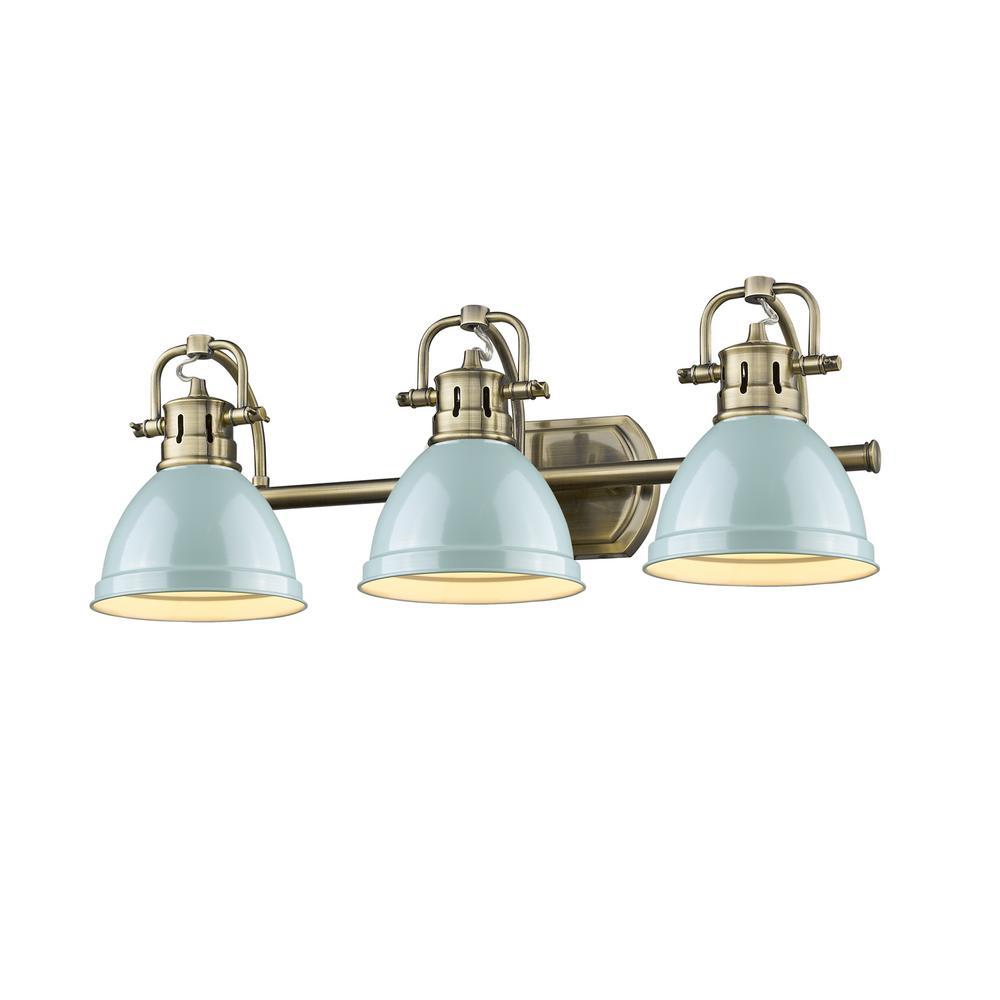 Duncan AB 3-Light Aged Brass Bath Light with Seafoam Shades