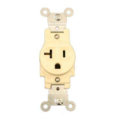 20 Amp Commercial Grade Grounding Single Outlet, Ivory