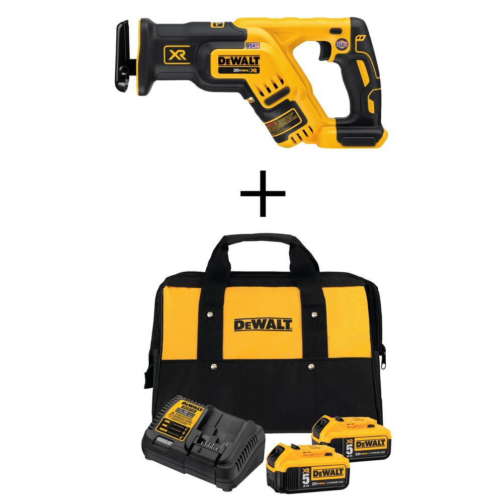 Dewalt 20V XR Cordless Brushless Reciprocating Saw + (2) 5.0 Ah Batteries