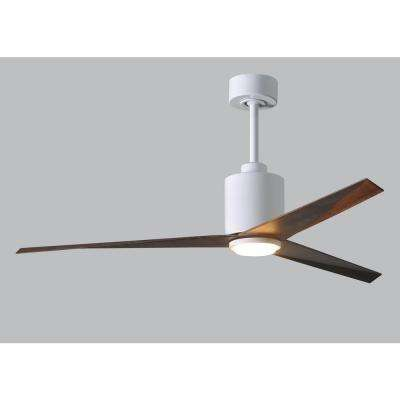 Eliza 56 in. LED Indoor/Outdoor Damp Gloss White Ceiling Fan with Light with Remote Control and Wall Control