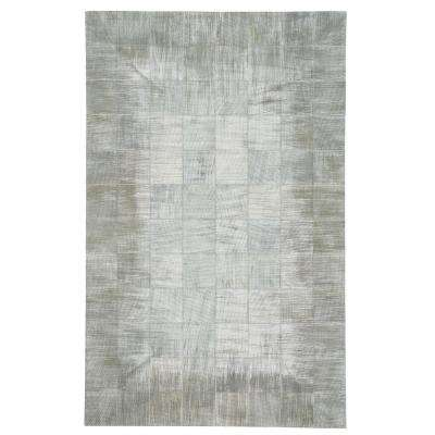 Butte Brushed Blocks Silver 8 ft. x 10 ft. Area Rug