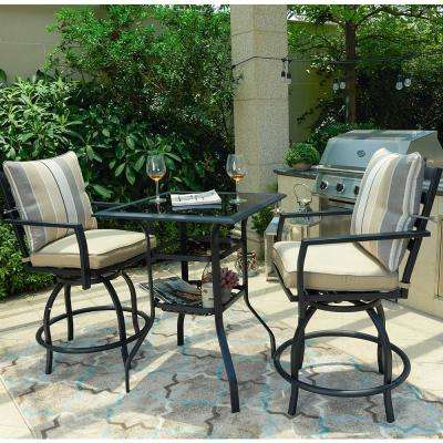 3-Piece Metal Outdoor Bistro Set with Beige Cushions