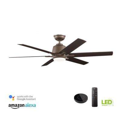 Kensgrove 54 in. Integrated LED Indoor Espresso Bronze Ceiling Fan with Light Kit Works with Google Assistant and Alexa