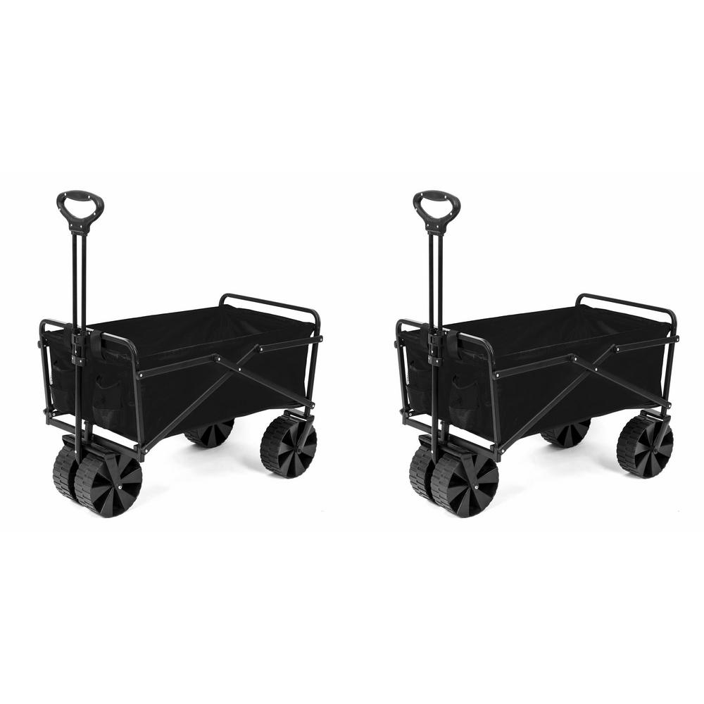 SEINA Steel Frame Collapsible Folding Utility Beach Wagon Outdoor Cart (2-Pack)