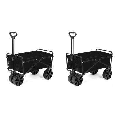 Steel Frame Collapsible Folding Utility Beach Wagon Outdoor Cart (2-Pack)