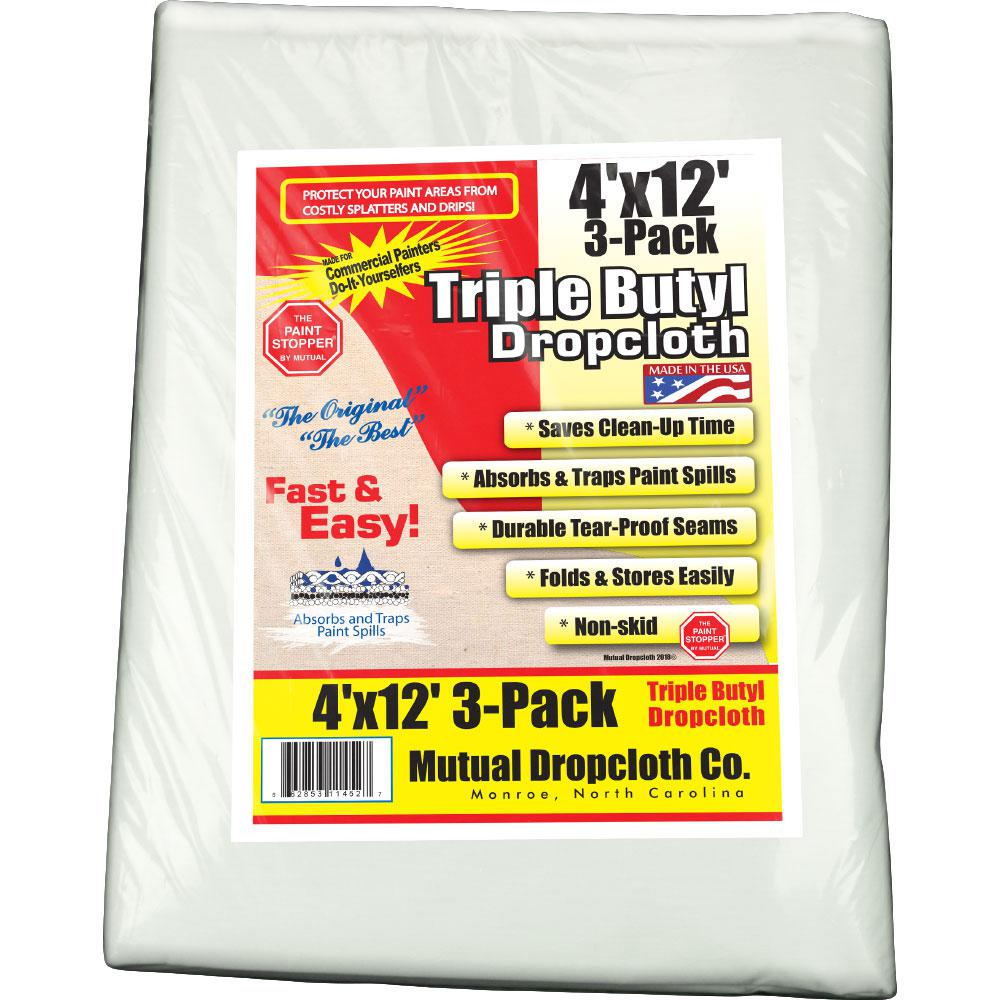 4 ft. x 12 ft. White Triple Coated Butyl Drop Cloth