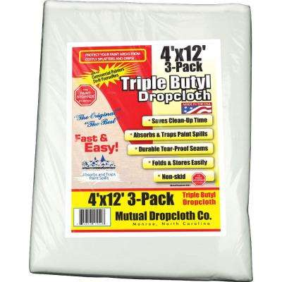 4 ft. x 12 ft. White Triple Coated Butyl Drop Cloth (3-Pack)