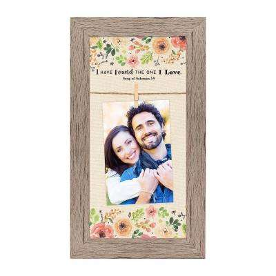 "Homespun Faith 4 in. x 6 in. Nutural Photos Barnwood Looking Frame ""The One I Love"" Hanging Photo Frame"