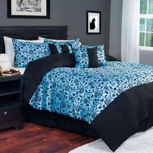 Blue Victoria Damask 7-Piece Queen Comforter Set by