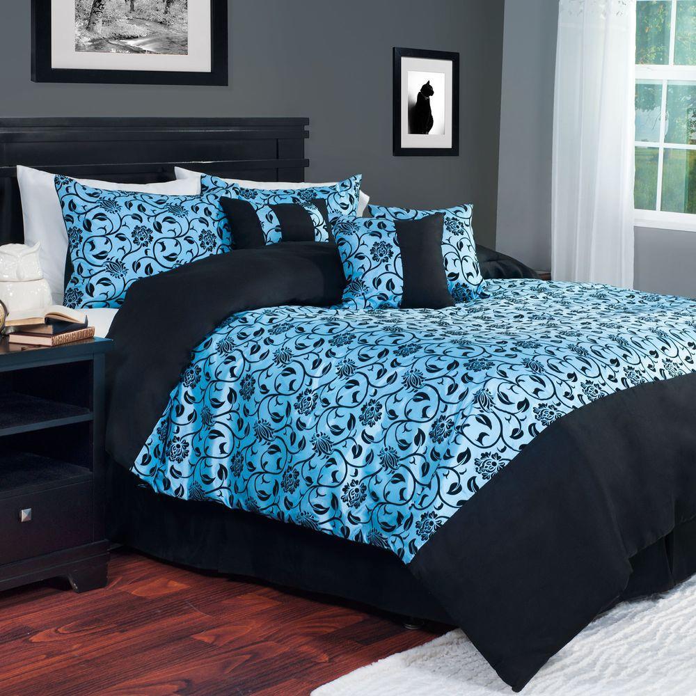 Comforter Sets Queen.7 Piece Blue Victoria Damask Queen Comforter Set