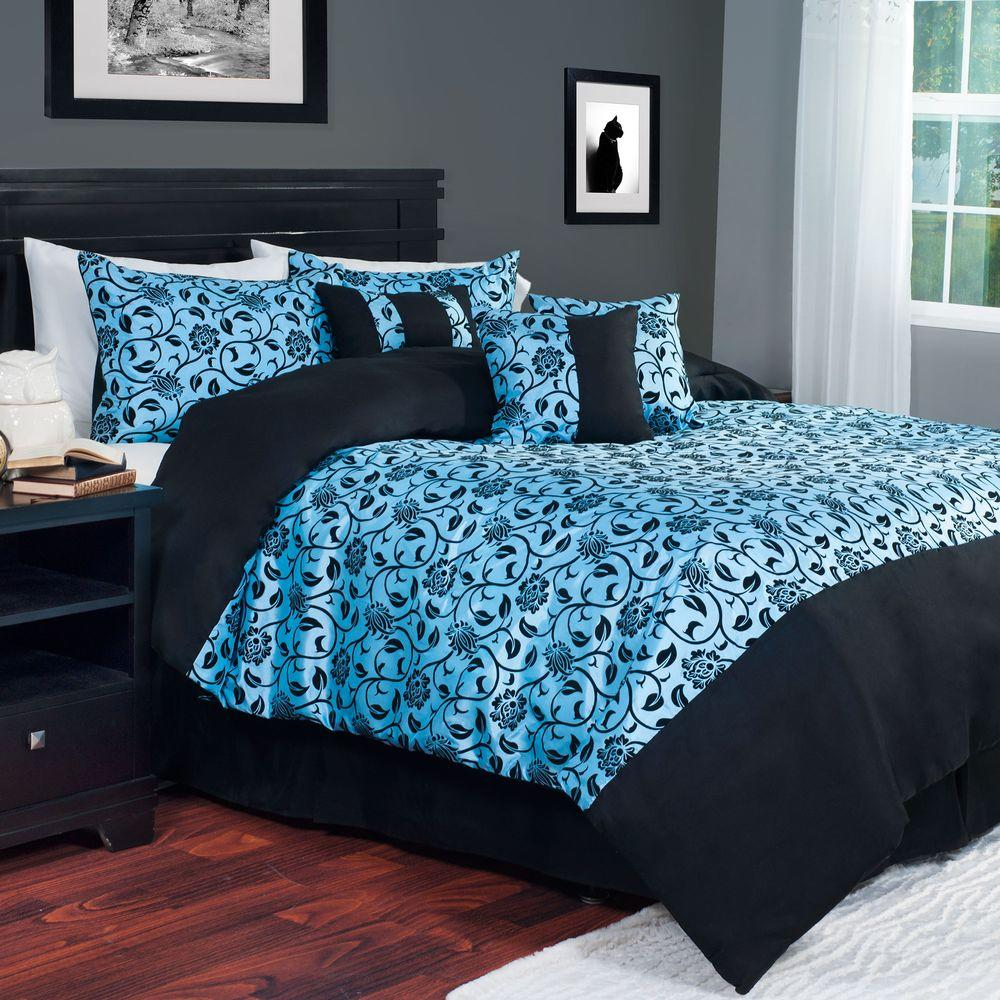 Lavish Home 7 Piece Blue Victoria Damask Queen Comforter Set