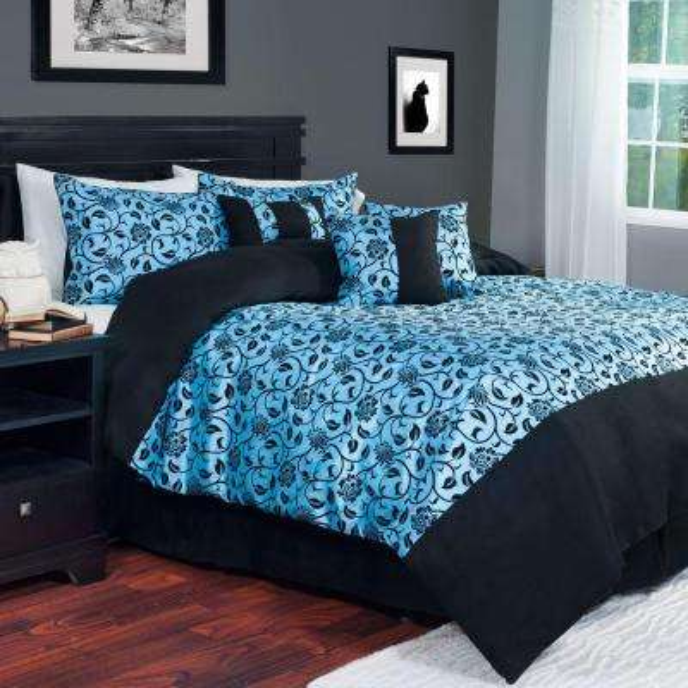7-Piece Blue Victoria Damask Queen Comforter Set
