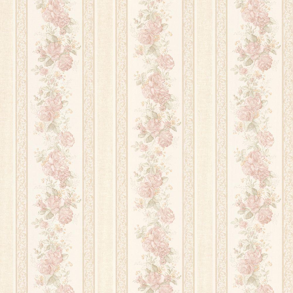 Tasha Blush Satin Floral Scroll Stripe Wallpaper