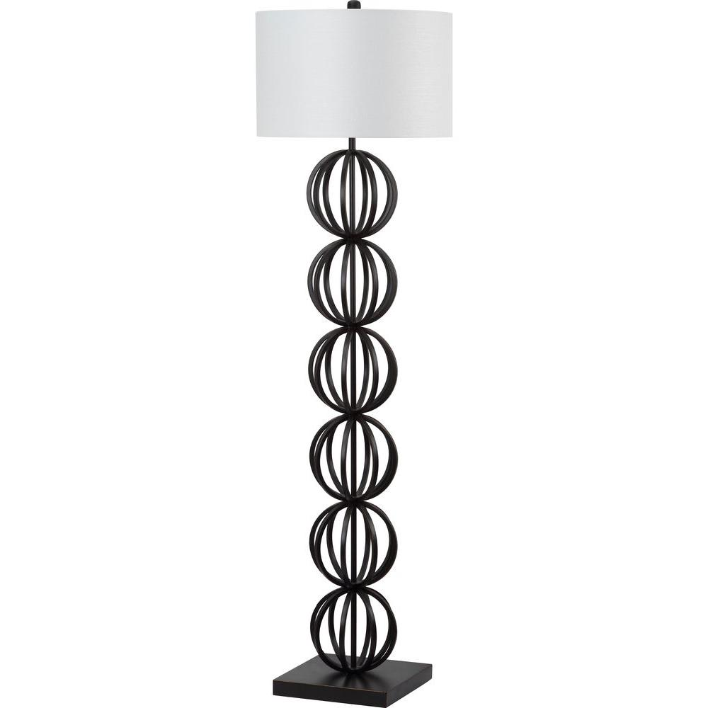 Black Sphere Floor Lamp With Off White Shade