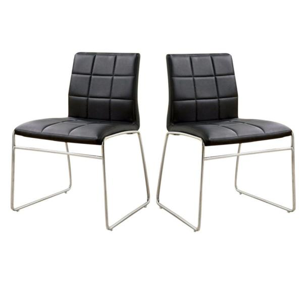 Oahu Contemporary Black Side Chair with Steel Tube (Set of 2)