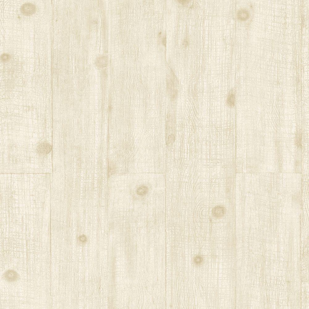 The Wallpaper Company 56 sq. ft. Cream Wood Paneling Wallpaper