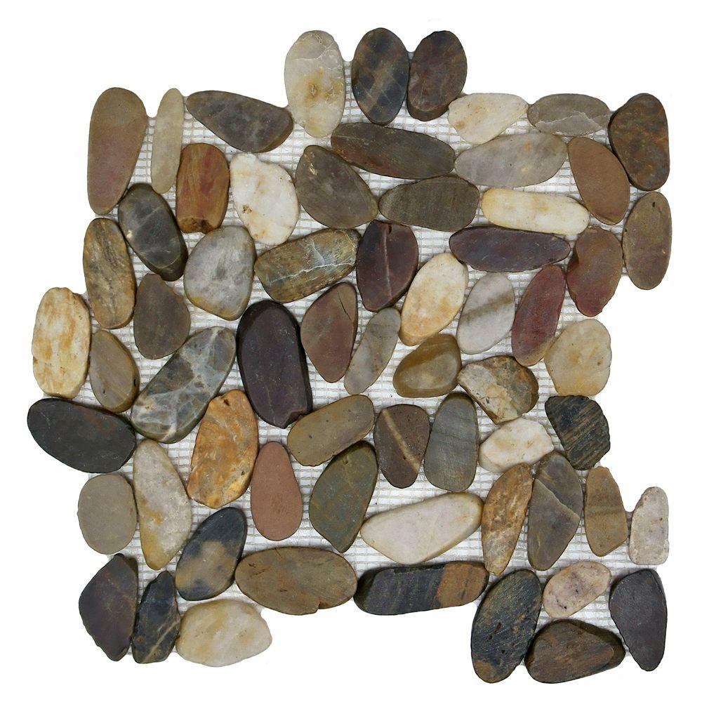 Merola Tile Riverstone Flat Multi 11-3/4 in. x 11-3/4 in. x 10 mm Natural Stone Mosaic Tile