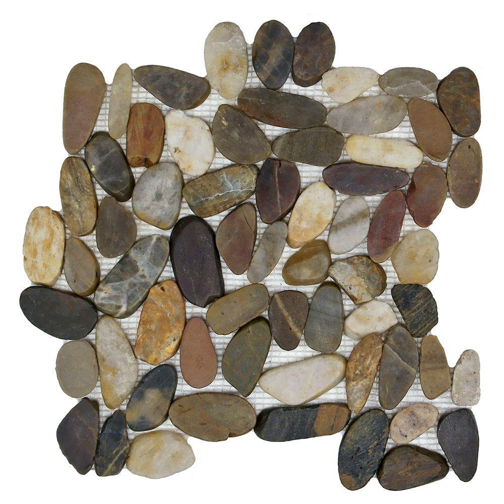 Merola Tile Riverstone Flat Multi 11-3/4 in. x 11-3/4 in. x 10 mm Natural Stone Mosaic Tile, Multi/Low Sheen
