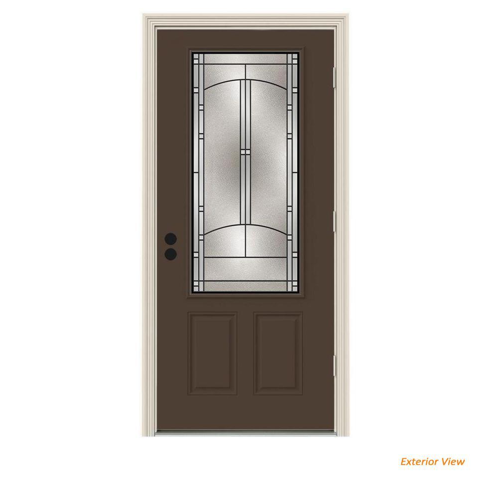 32 in. x 80 in. 3/4 Lite Idlewild Dark Chocolate Painted Steel Prehung Left-Hand Outswing Front Door w/Brickmould