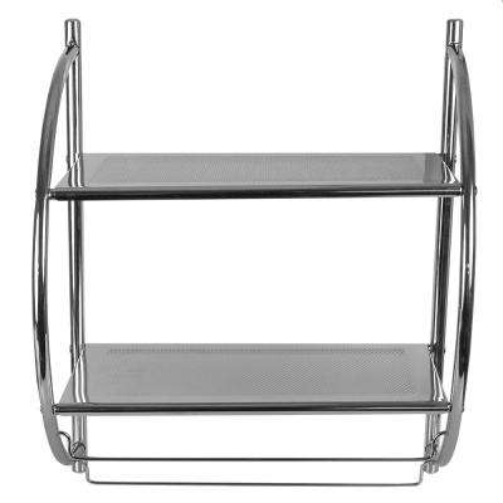 10 in. W Hanging Steel 2-Tier Shelf in Chrome