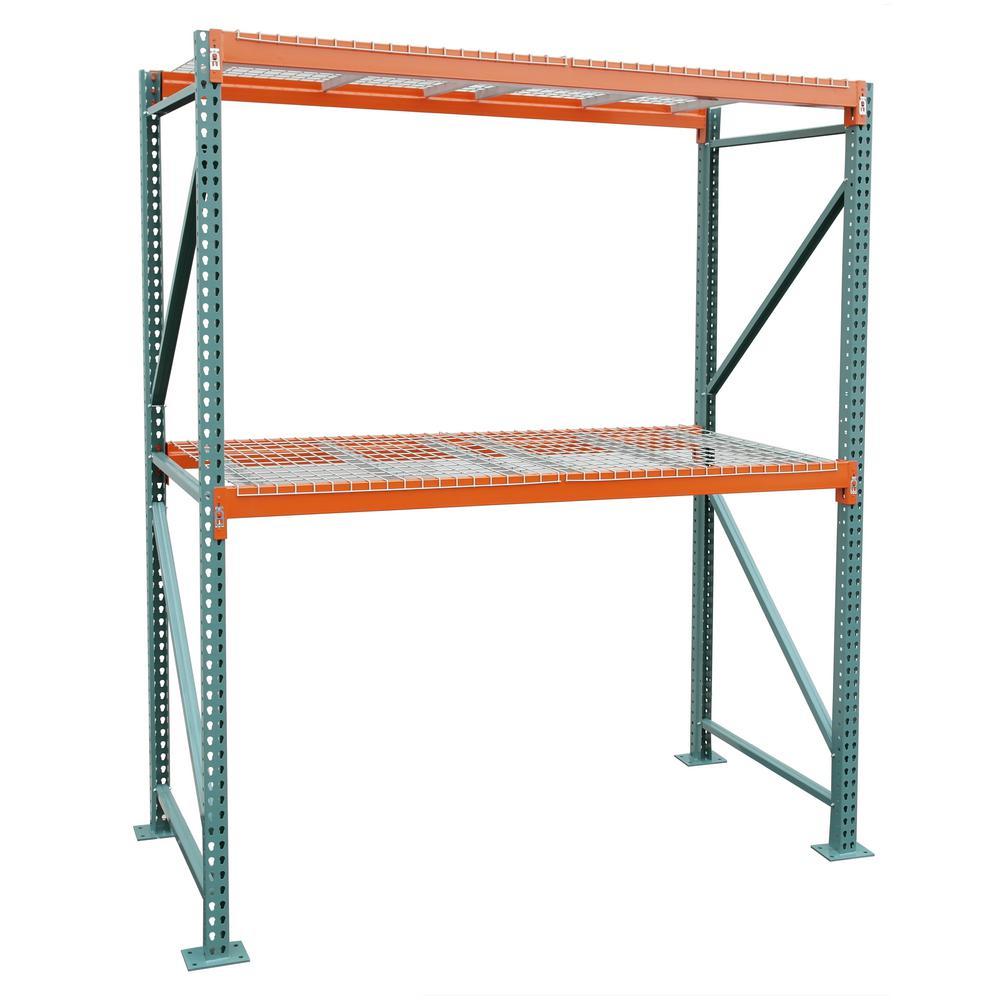 Storage Concepts 42 in. D x 108 in. W x 120 in. H Steel Heavy Duty 2-tier with Wire Decking Pallet Rack Starter Unit